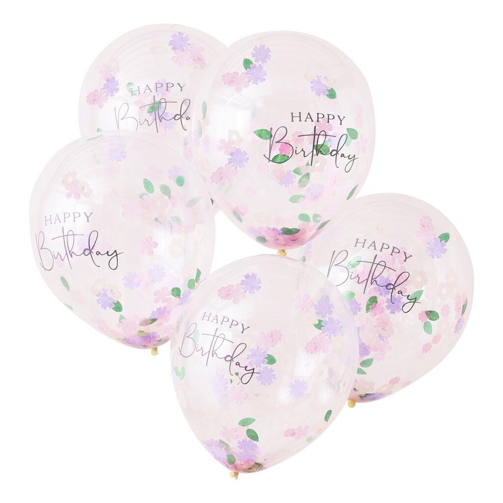 Μπαλόνια Latex Happy Birthday με Κονφετί Λουλουδάκια – 5 Τεμάχια