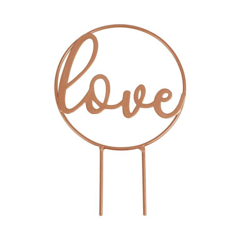 Μεταλλικό Διακοσμητικό Τούρτας Love Ροζ Χρυσό