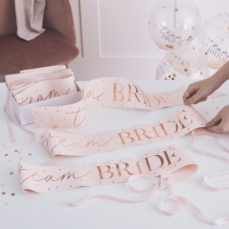 Κορδέλες Team Bride Ροζ με Ροζ Χρυσά Πουά – 6 Τεμάχια