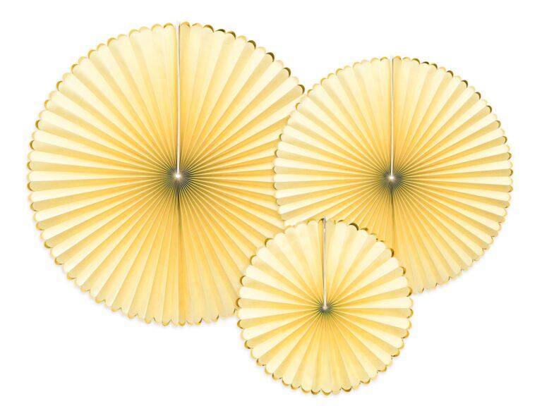 Χάρτινες Βεντάλιες Κίτρινες με Χρυσό – 3 Τεμάχια