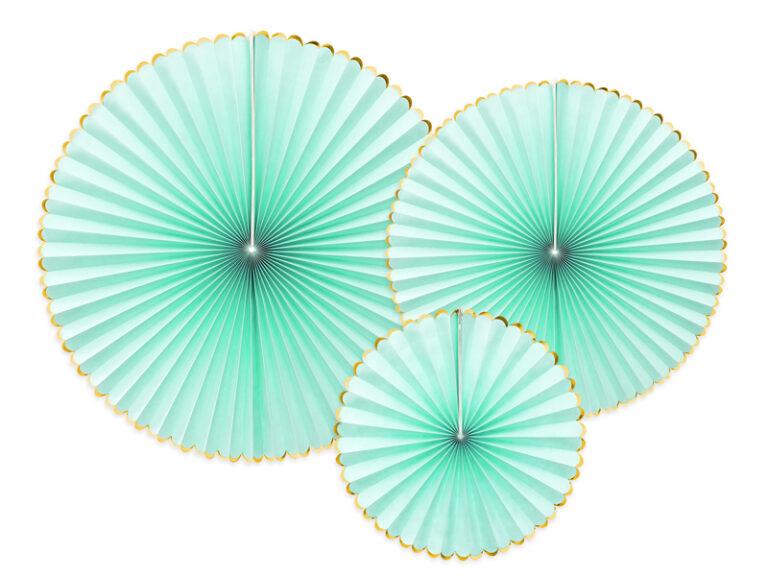 Χάρτινες Βεντάλιες Mint με Χρυσό – 3 Τεμάχια