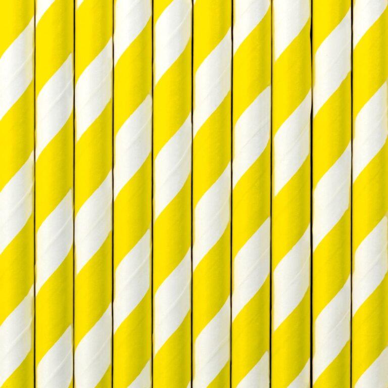 Χάρτινα Καλαμάκια Ριγέ Κίτρινα με 'Ασπρο – 10 Τεμάχια