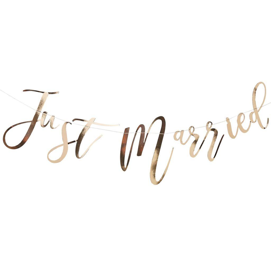 Χάρτινη Γιρλάντα Just Married Χρυσή