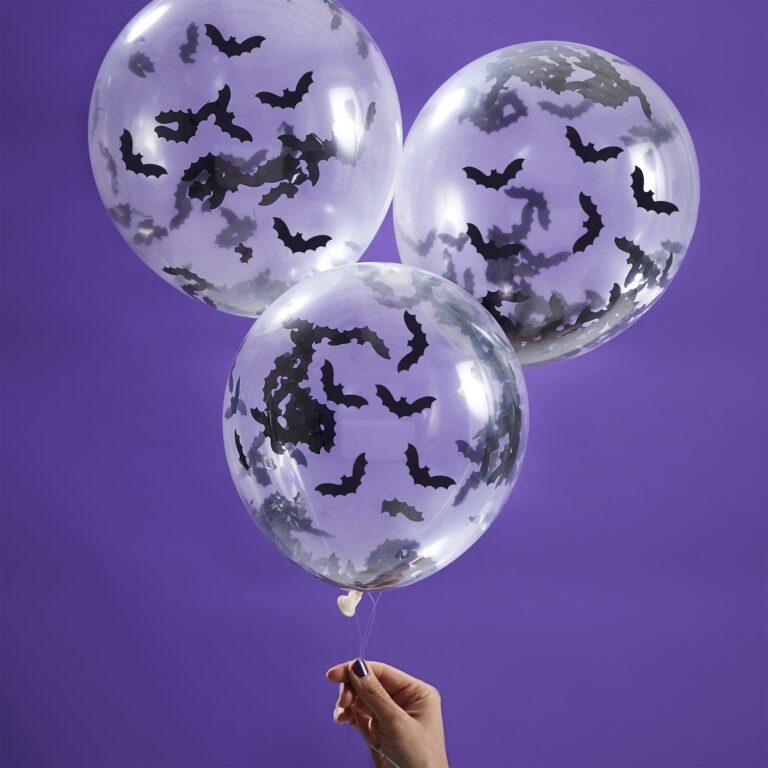 Μπαλόνια Latex Halloween με Νυχτερίδες Κονφετί – 5 Τεμάχια