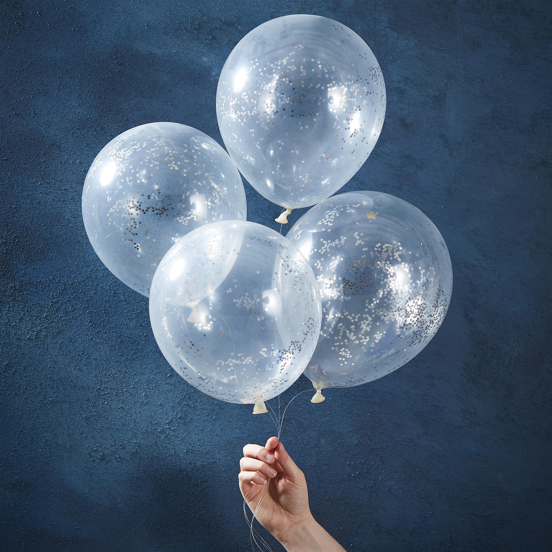 Μπαλόνια Latex με Ασημί Κονφετί – 5 Τεμάχια