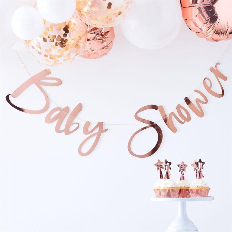 Χάρτινη Γιρλάντα Baby Shower Ροζ Χρυσή