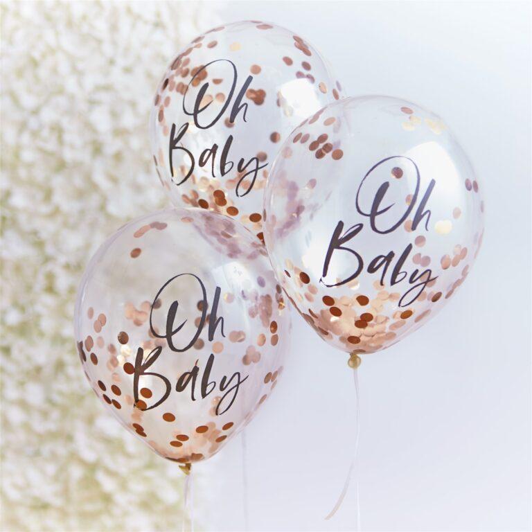 Μπαλόνια Latex με Rose Gold Κονφετί Oh Baby – 5 Τεμάχια