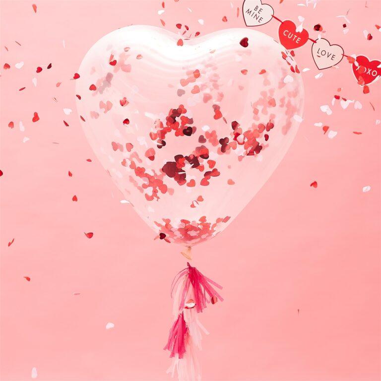 Μπαλόνι Latex Καρδιά Γίγας με Κονφετί Καρδούλες 91εκ