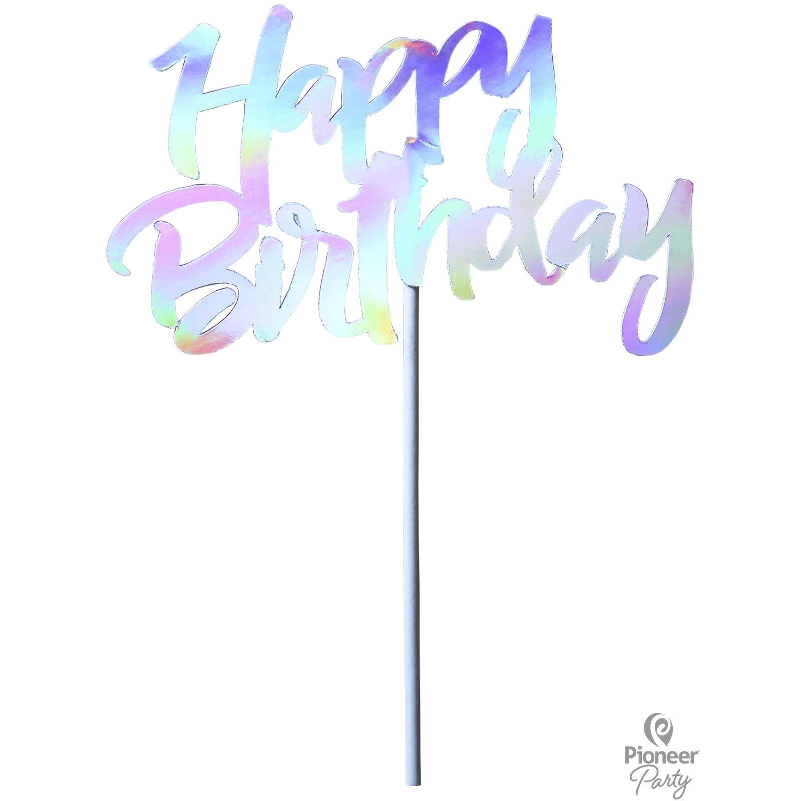Χάρτινο Διακοσμητικό Τούρτας Happy Birthday Ιριδίζον