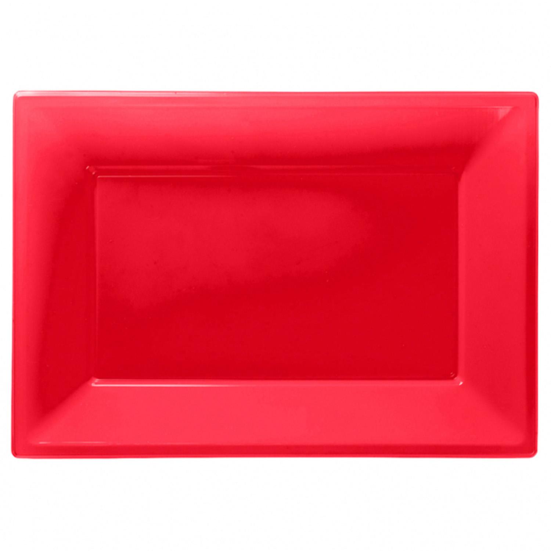 Πλαστική Πιατέλα Κόκκινη 3 Τεμάχια