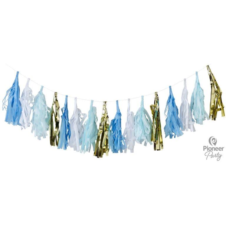 Χάρτινη Γιρλάντα Tassel Χρυσό, Λευκό & Γαλάζιο