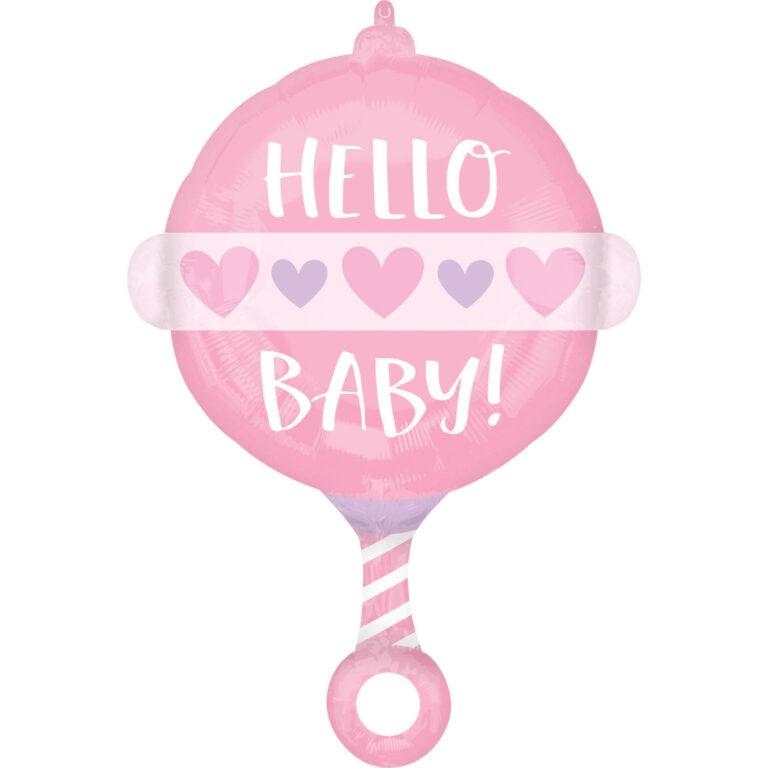 Μπαλόνι Foil Κουδουνίστρα Hello Baby Ροζ 43×60εκ