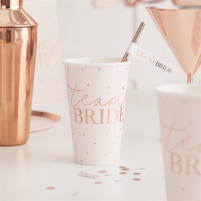 Χάρτινα Ποτήρια Team bride Ροζ με Rose Gold Πουά 470ml  – 8 Τεμάχια