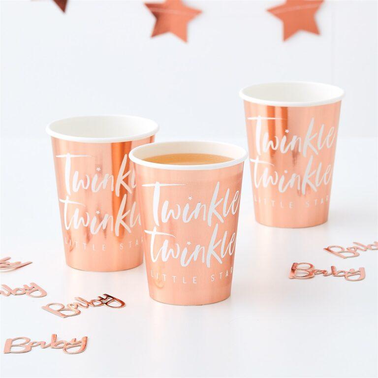 Χάρτινα Ποτήρια Twinkle Twinkle Little Star Rose Gold 270ml – 8 Τεμάχια