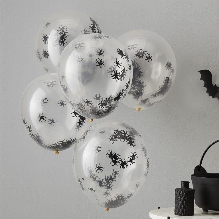 Μπαλόνια Latex Halloween με Αράχνες Κονφετί – 5 Τεμάχια