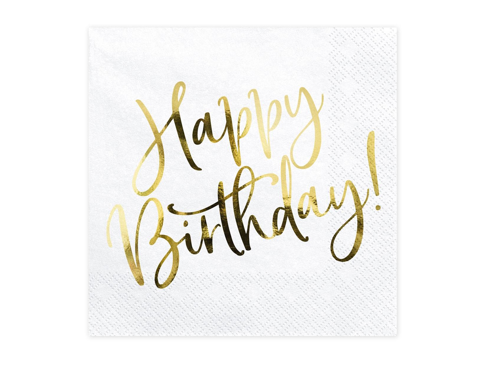 Χαρτοπετσέτες Happy Birthday Χρυσό 33×33εκ – 20 Τεμάχια