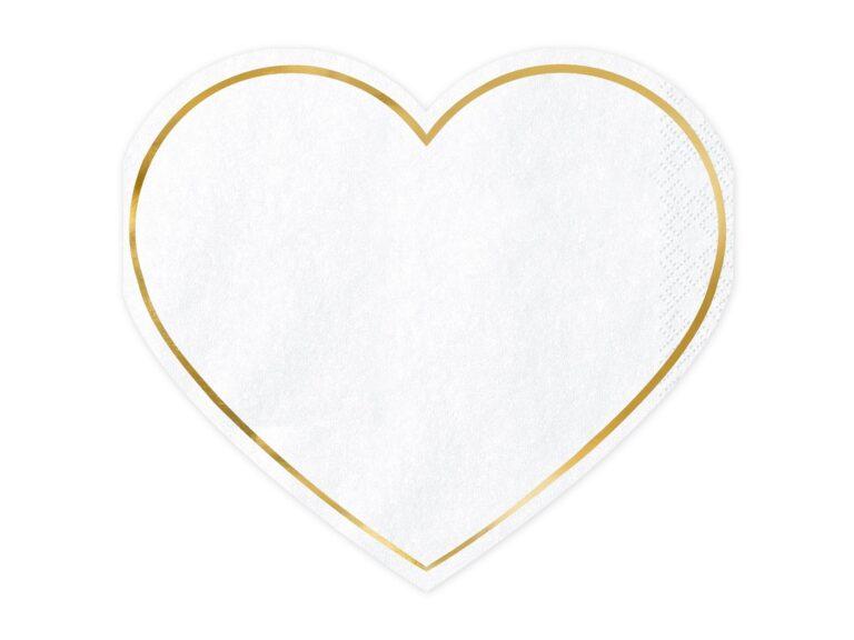 Χαρτοπετσέτες Λευκές με Χρυσό Περίγραμμα  Καρδιά  28.5×25εκ – 20 Τεμάχια