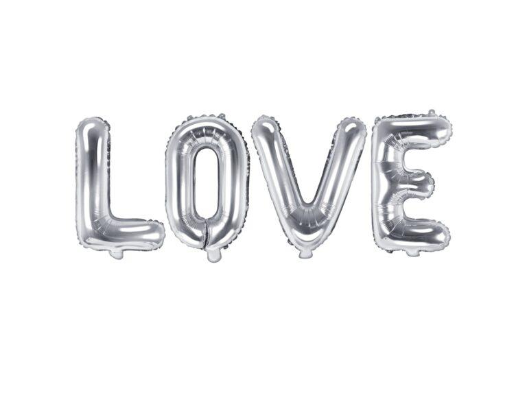 Σετ Μπαλόνια Γράμματα LOVE Ασημί 140×35εκ