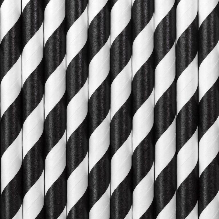Χάρτινα Καλαμάκια Ριγέ Μαύρα με 'Ασπρο – 10 Τεμάχια