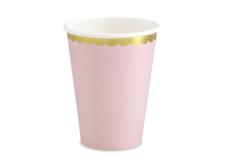 Χάρτινα Ποτήρια Ροζ με Χρυσό 220ml – 6 Τεμάχια