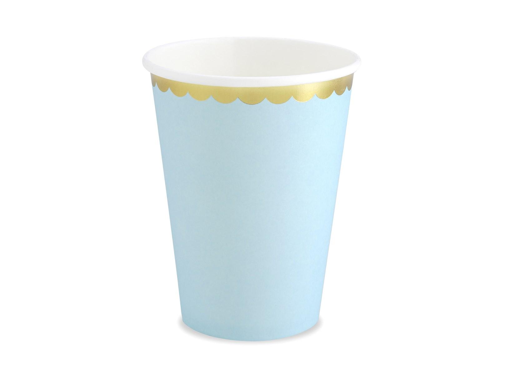 Χάρτινα Ποτήρια Γαλάζιο με Χρυσό 220ml – 6 Τεμάχια