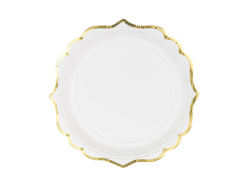 Χάρτινα Πιάτα Λευκό με Χρυσό 18,5εκ – 6 Τεμάχια