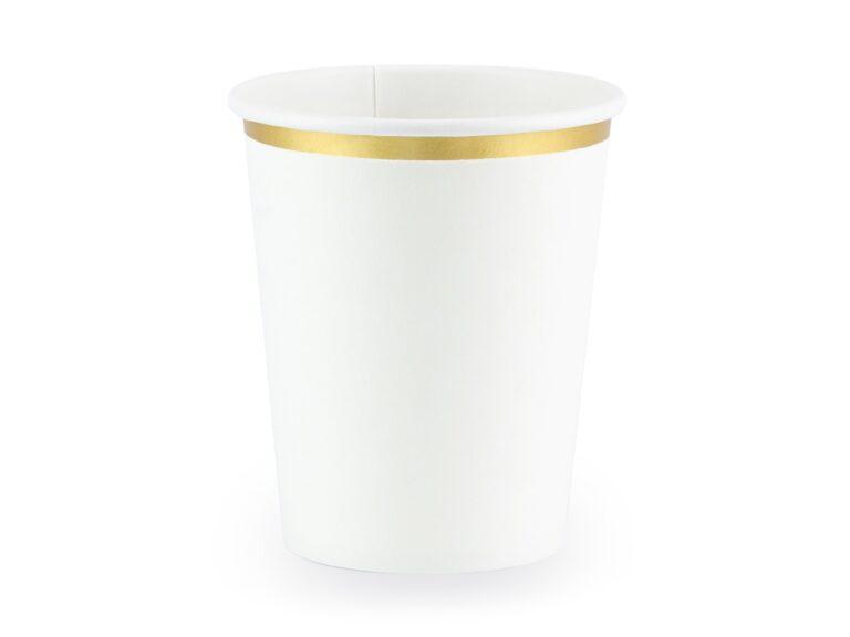 Χάρτινα Ποτήρια Λευκό με Χρυσό 260ml – 6 Τεμάχια