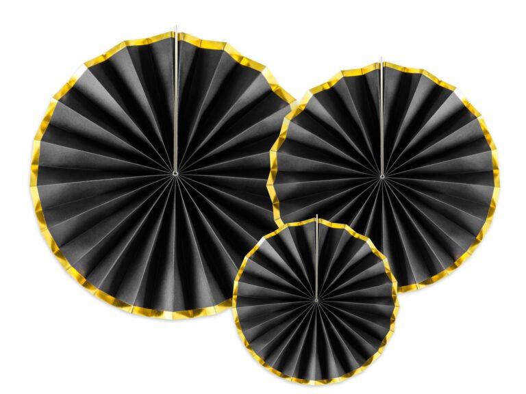 Χάρτινες Βεντάλιες Μαύρες με Χρυσό – 3 Τεμάχια