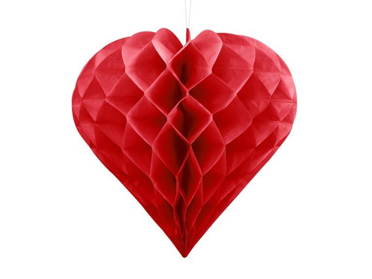 Χάρτινη Διακοσμητική Καρδιά Κόκκινη 30εκ