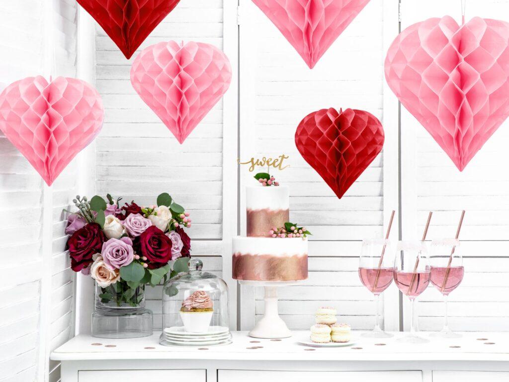Χάρτινη Διακοσμητική Καρδιά Ροζ 30εκ