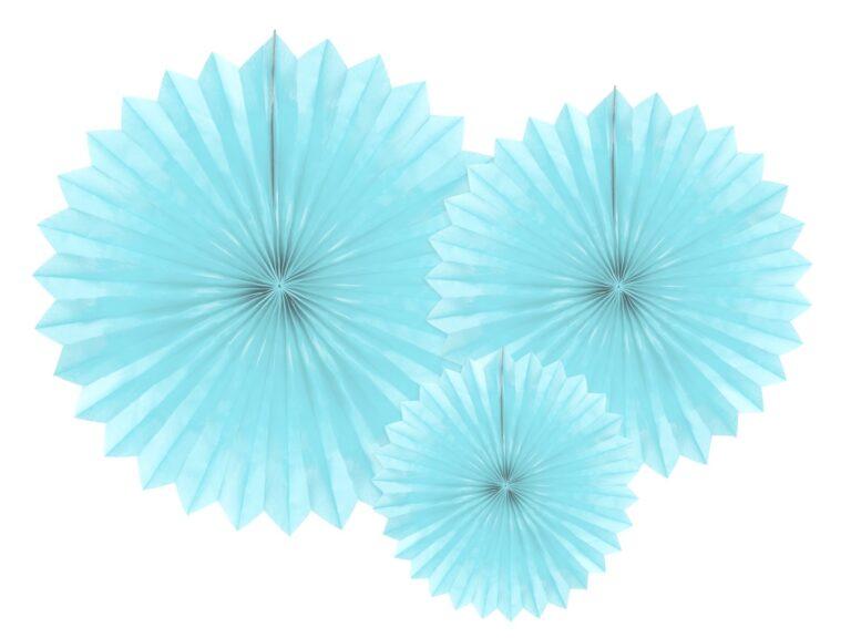 Χάρτινες Βεντάλιες Tissue Fan Γαλάζιες – 3 Τεμάχια