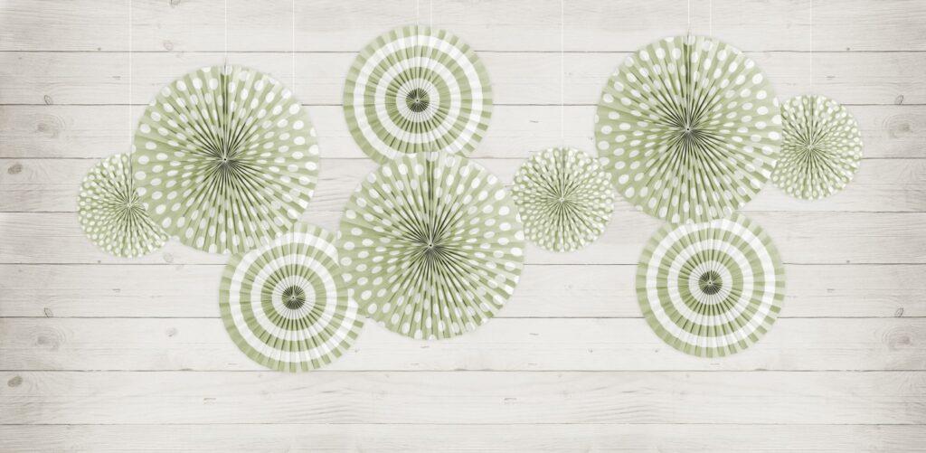 Χάρτινες Βεντάλιες Pastelove Light Olive – 3 Τεμάχια