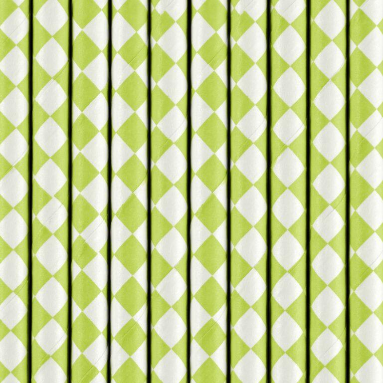 Χάρτινα Καλαμάκια Καρό Green Apple με 'Ασπρο – 10 Τεμάχια
