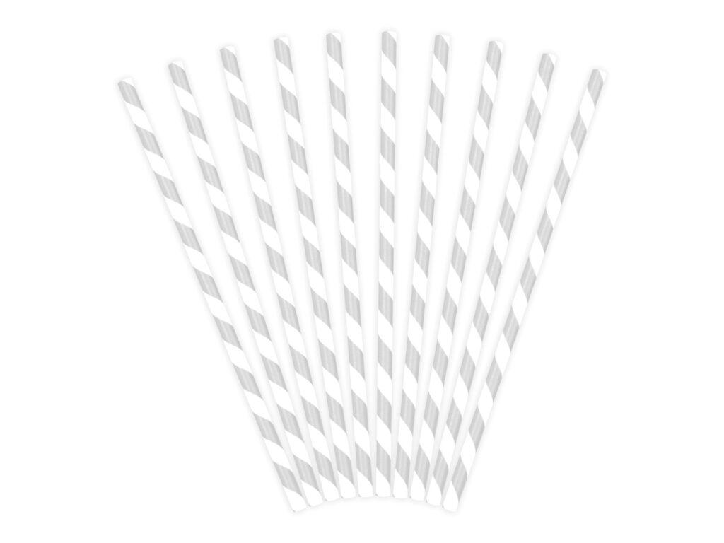 Χάρτινα Καλαμάκια Ριγέ Γκρι με 'Ασπρο – 10 Τεμάχια