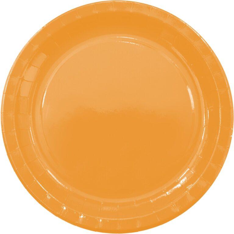 Χάρτινα Πιάτα Πορτοκαλί 23εκ – 8 Τεμάχια
