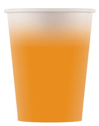 Χάρτινα Ποτήρια Πορτοκαλί 200ml – 8 Τεμάχια