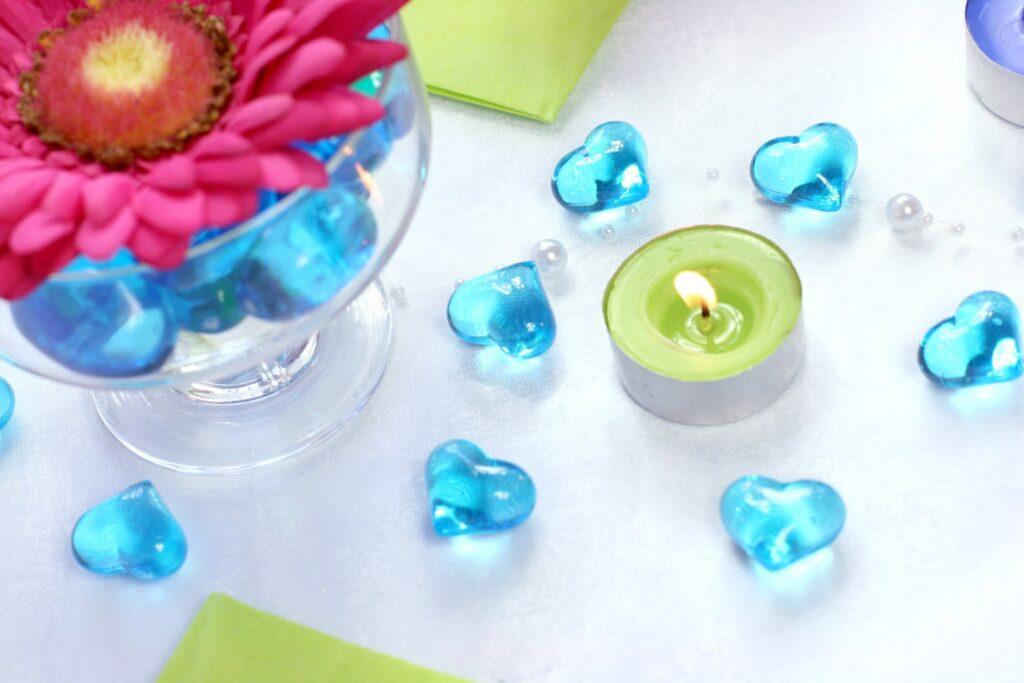 Κρυσταλλάκια σε Σχήμα Καρδιάς Τιρκουάζ 21χλστ – 30 Τεμάχια