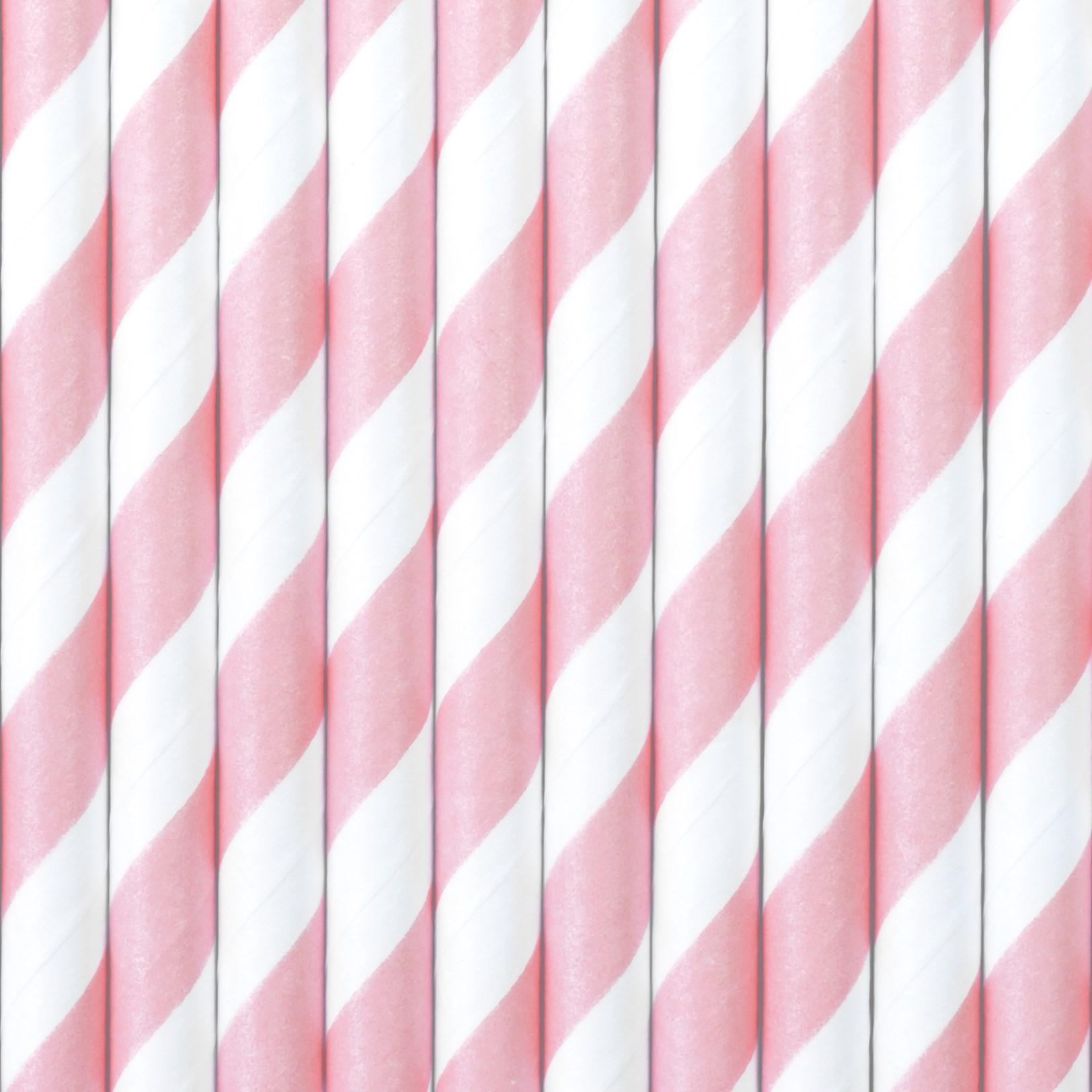 Χάρτινα Καλαμάκια Ριγέ Ροζ με 'Ασπρο – 10 Τεμάχια