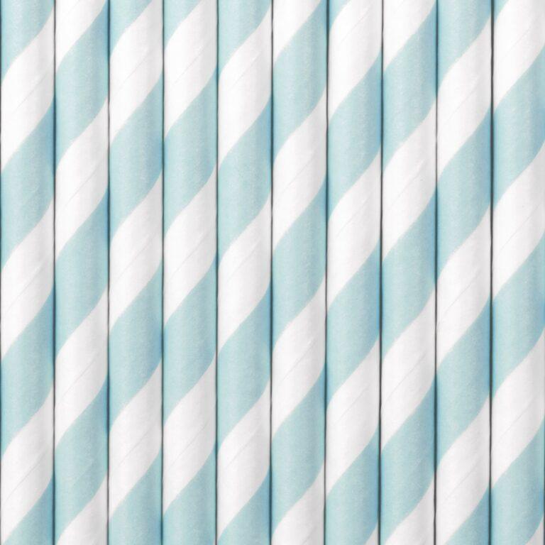 Χάρτινα Καλαμάκια Ριγέ Γαλάζιο με 'Ασπρο – 10 Τεμάχια
