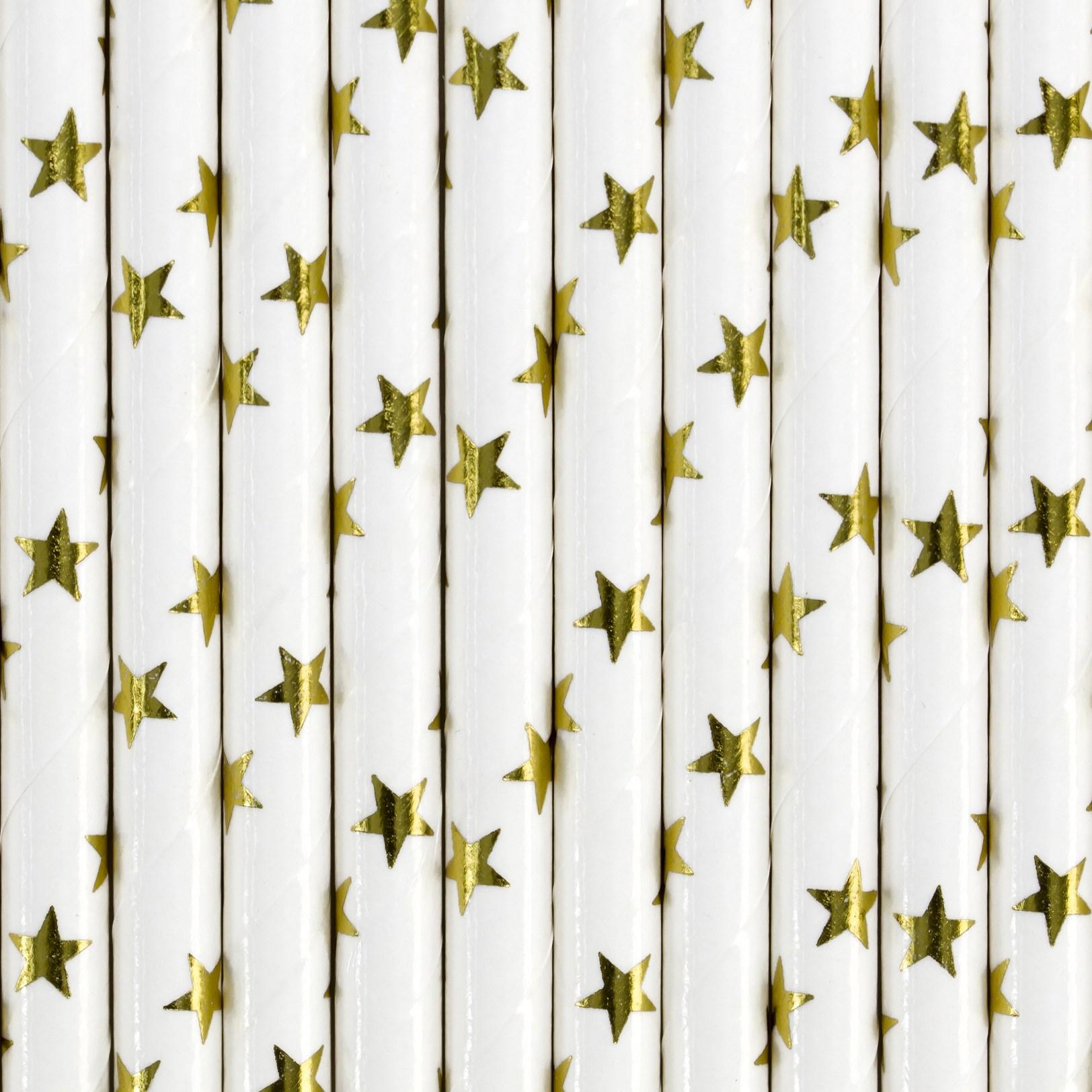 Χάρτινα Καλαμάκια Λεύκα με Χρυσά Αστεράκια – 10 Τεμάχια