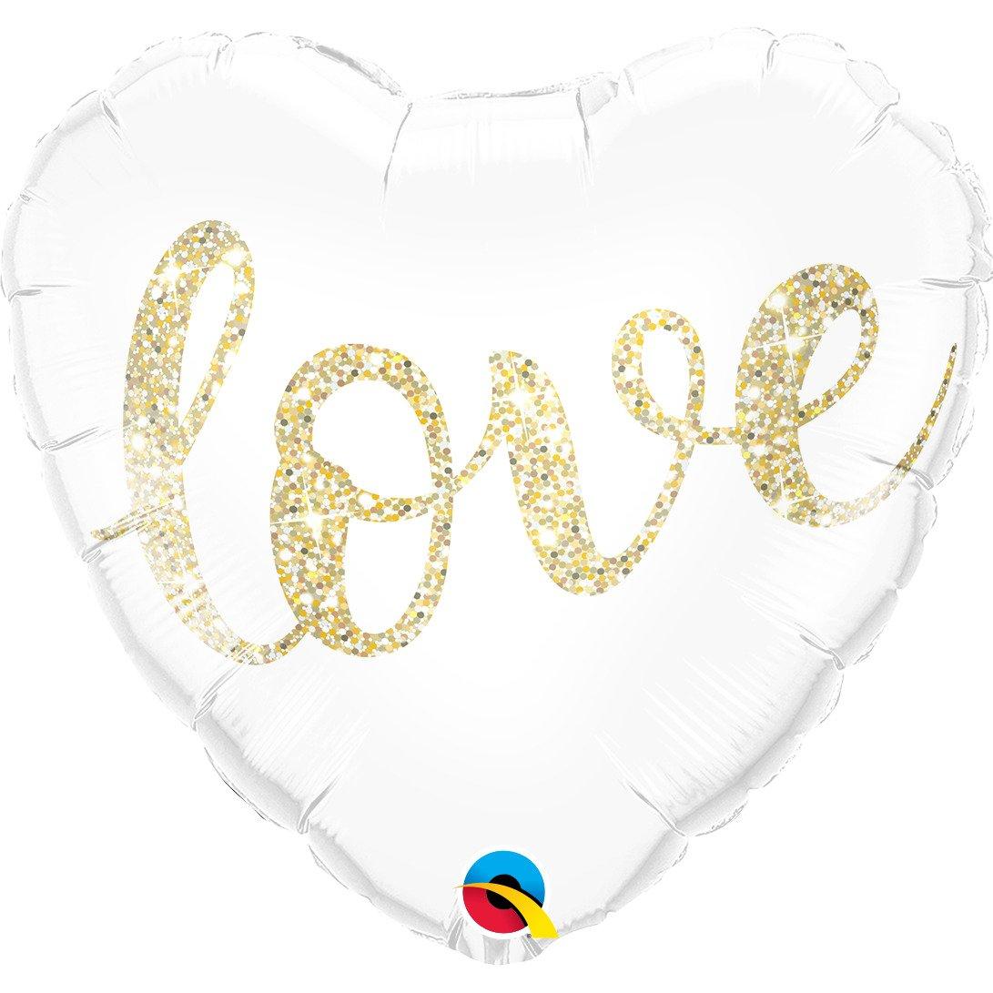 Μπαλόνι Foil LOVE Καρδιά Λευκό Χρυσό 46εκ
