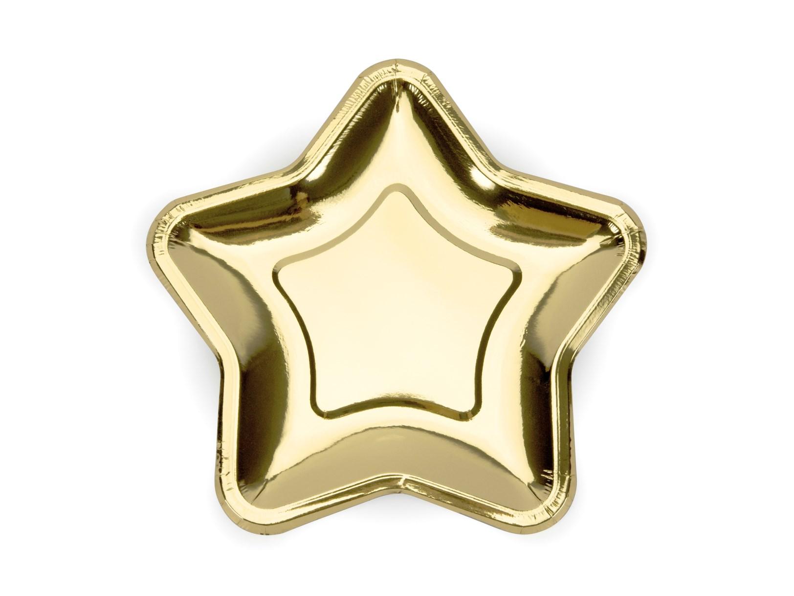 Χάρτινα Πιάτα Αστέρι Χρυσό 23εκ – 6 Τεμάχια
