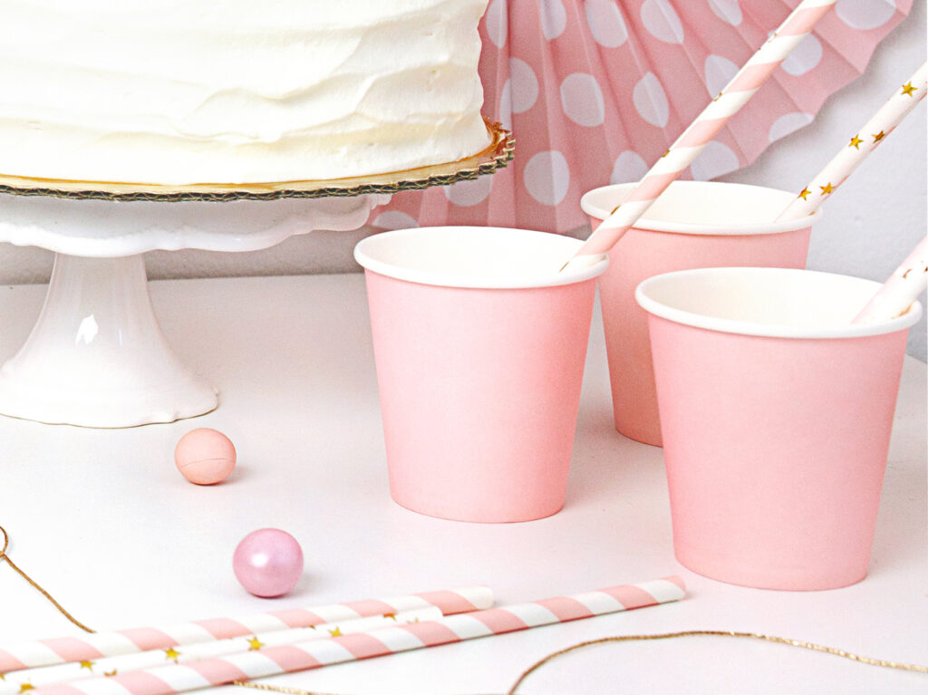 Χάρτινα Ποτήρια Ροζ 180ml – 6 Τεμάχια