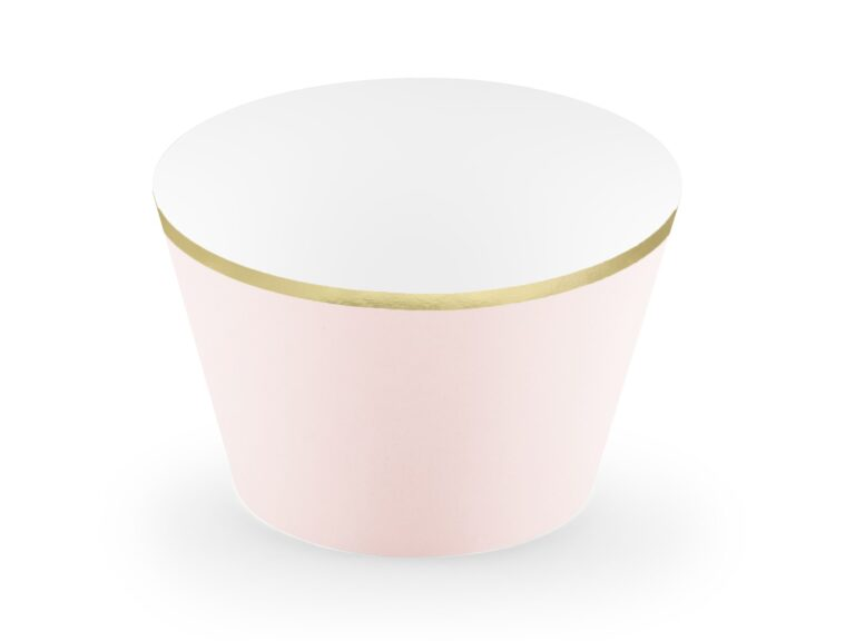 Χάρτινες Διακοσμητκές Θήκες Cupcakes Απαλό Ροζ με Χρυσό – 6 Τεμάχια