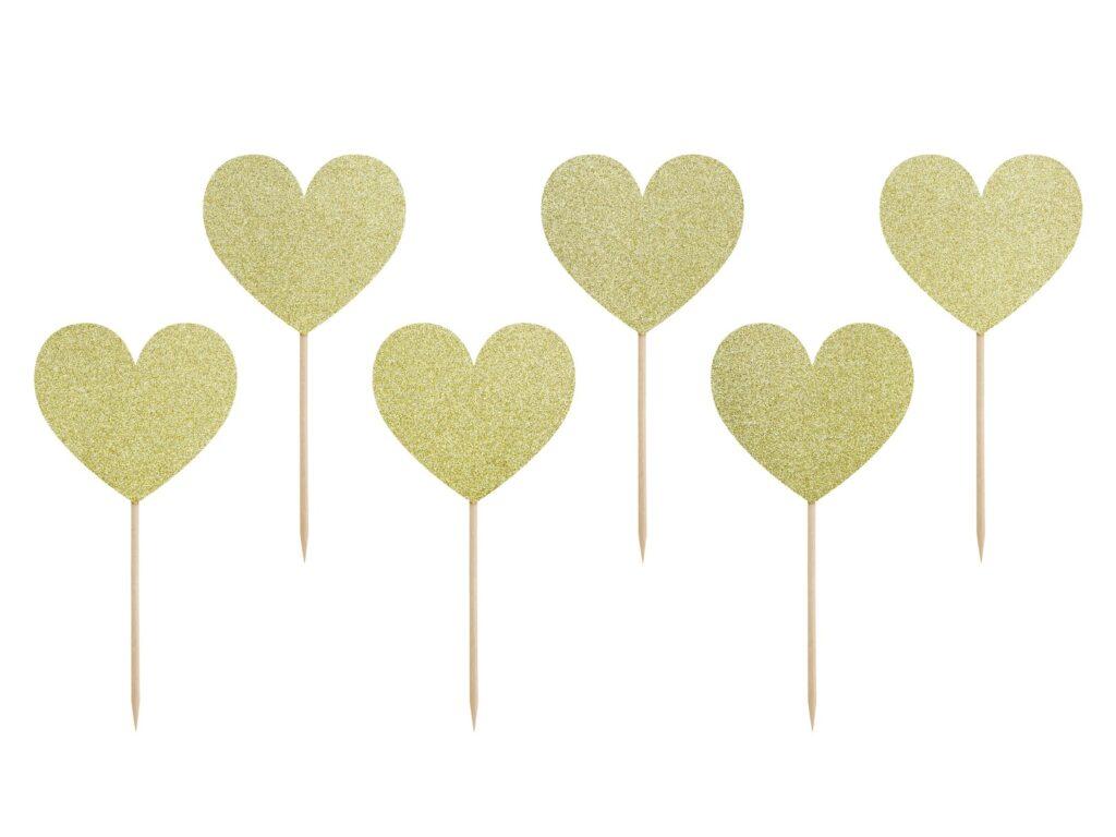 Χάρτινα Διακοσμητικά Στικ Καρδούλες Χρυσές με Γκλίτερ – 6 Τεμάχια