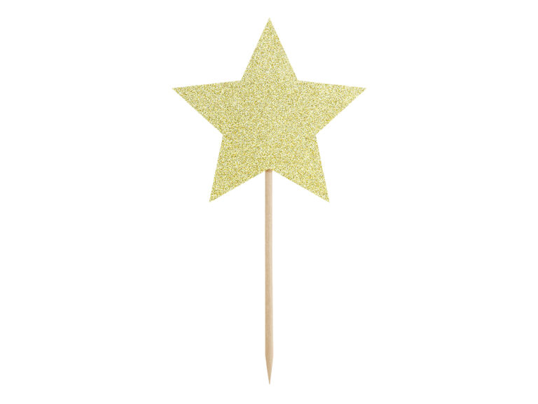 Χάρτινα Διακοσμητικά Στικ Αστεράκια Χρυσά με Γκλίτερ – 6 Τεμάχια