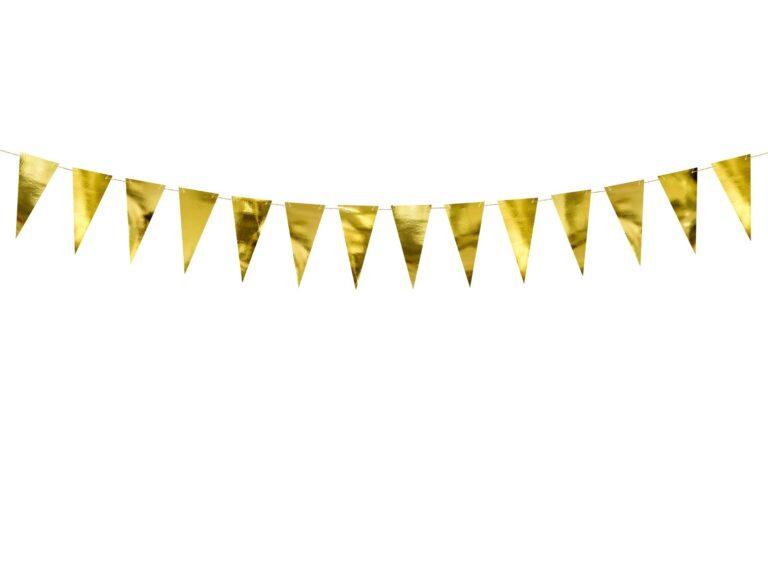 Χάρτινη Γιρλάντα με Σημαιάκια Χρυσά