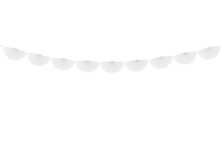 Χάρτινη Γιρλάντα με Βεντάλιες Λευκές