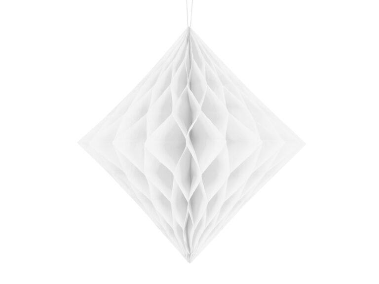 Χάρτινο Διακοσμητικό Διαμάντι Λευκό 30εκ
