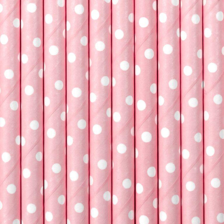 Χάρτινα Καλαμάκια Ροζ με 'Ασπρα Πουά – 10 Τεμάχια